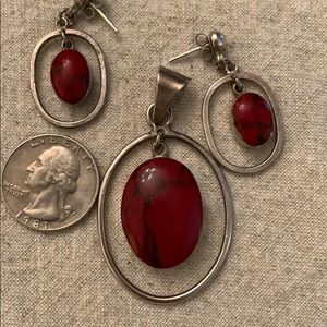 Jewelry - Red turquoise/silver earrings and pendant